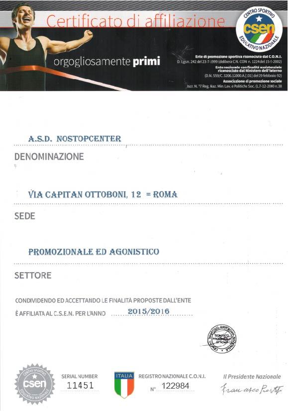 certificato affiliazione